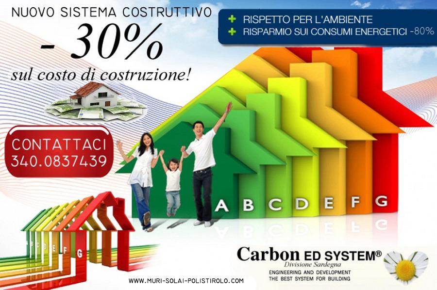 Sistema costruttivo in EPS Carbon ED SYSTEM, -30% sul costo di costruzione, - 80% spese di gestione dell'immobile.