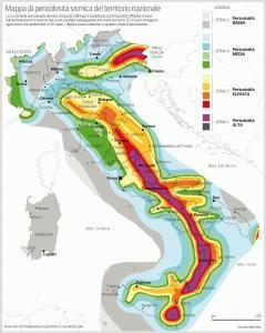 mappa rischio sismico in Italia